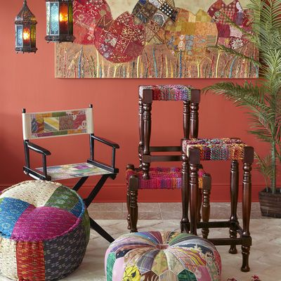 Ikat Sari Pouf Ottomanbetter YetALL THE POUF OTTOMANS From Cool Pier One Pouf