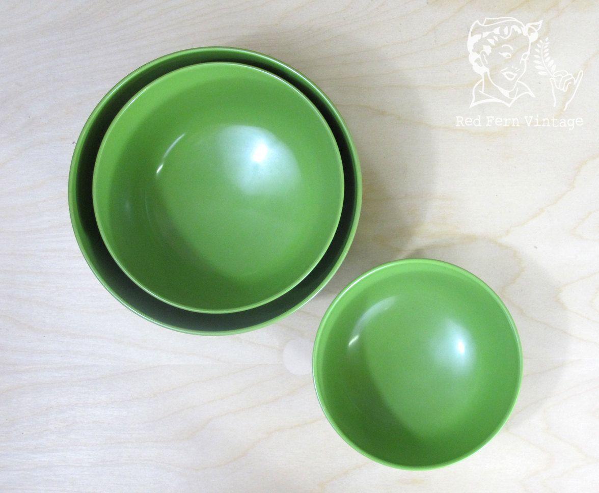 Vintage Green Rosti Melamine Nesting Bowls. $20.00, via Etsy.