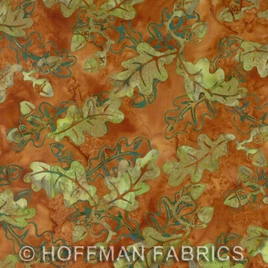 Autumn Oak Leaves Hand Painted Batiks by Hoffman