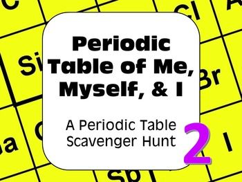 A periodic table of the elements scavenger hunt all about me myself for introducing and familiarizing students with the periodic table student centered collaborative fun and engaging the complete set will become your urtaz Image collections