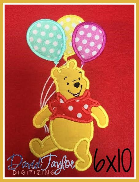 Winnie The Pooh Birthday Embroidery Design 4x4 5x7 6x10 9 Formats