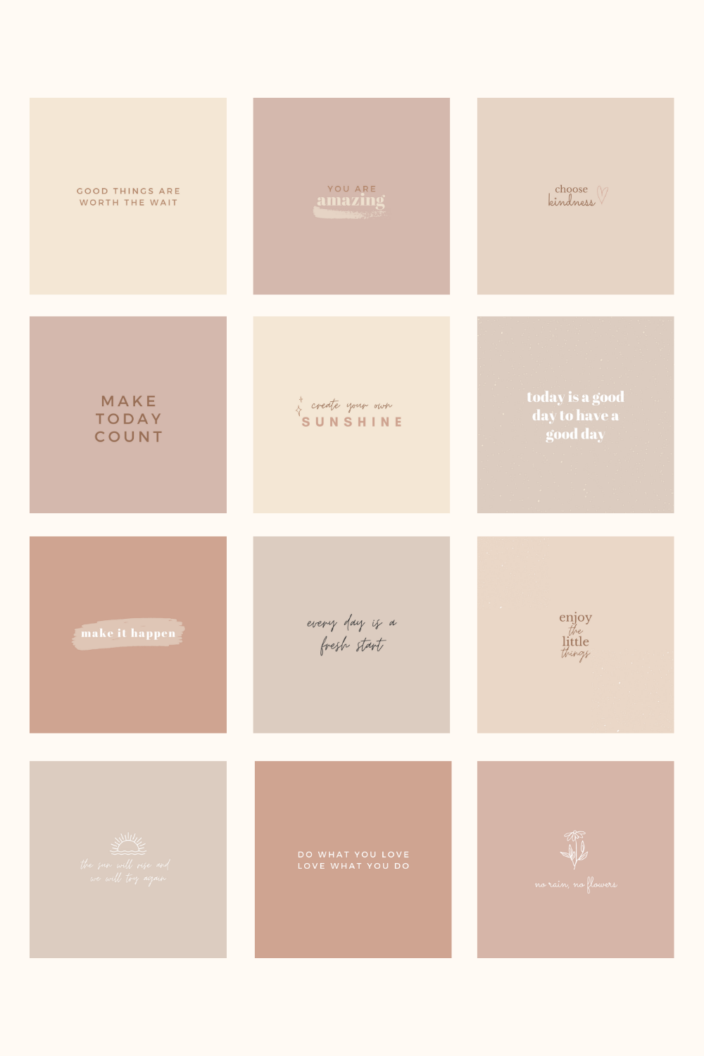 Instagram Post Quotes Templates - Motivational Quotes in Boho, Soft Neutral Colors, Branding Kit