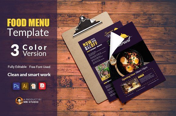 Food Menu Template By Mri Studio On Creativemarket  Restaurant
