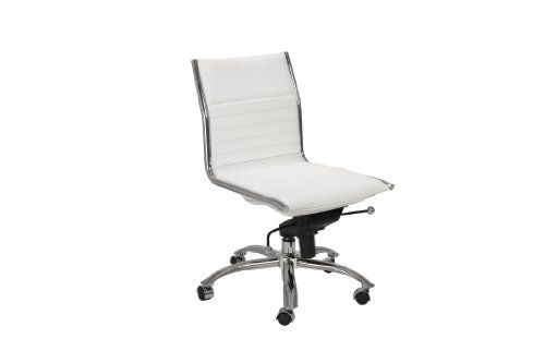 euro style dirk low back office chair without arms white chrome