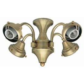 Hunter 4-Light Antique Brass Ceiling Fan Light Kit with Glass Not Included  Glass