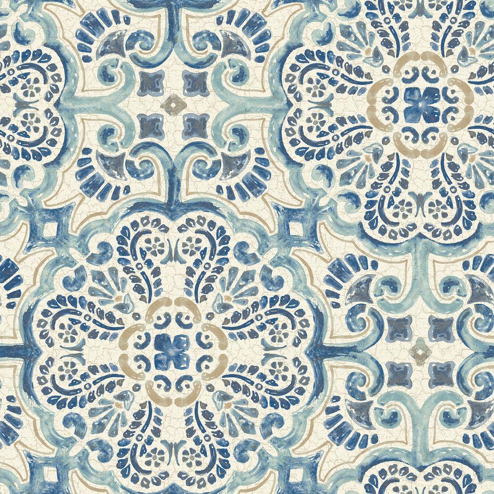 Nuwallpaper Blue Florentine Tile Vinyl Strippable Wallpaper Covers 30 75 Sq Ft Nu2235 The Home Depot Tile Wallpaper Green Tile Wallpaper Warehouse