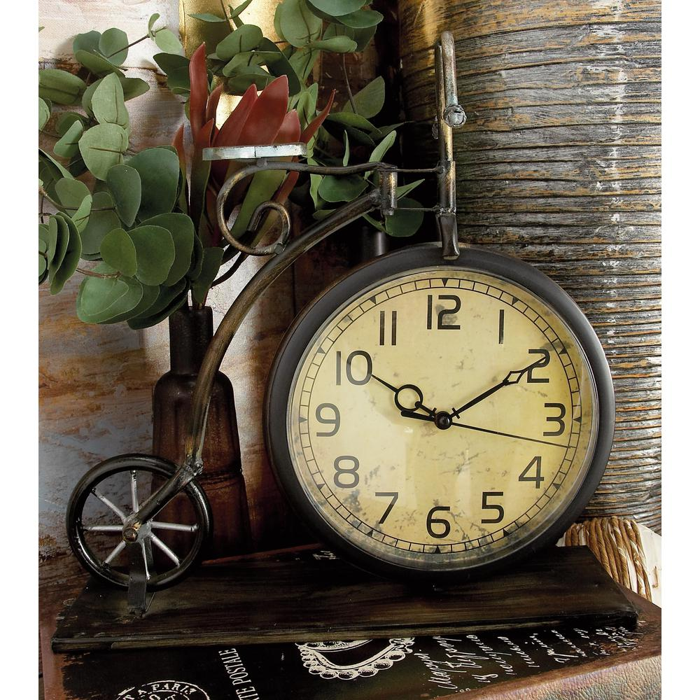 Litton Lane 13 in x 12 in Brown and Tan VintageStyle Bicycle Table Clock 65817  Litton Lane 13 in x 12 in Brown and Tan VintageStyle Bicycle Table Clock