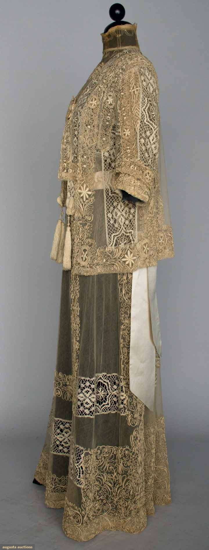Lace Tea Gown Jacket, C. 1914. Sideways.Tea gowns were supposed to ...