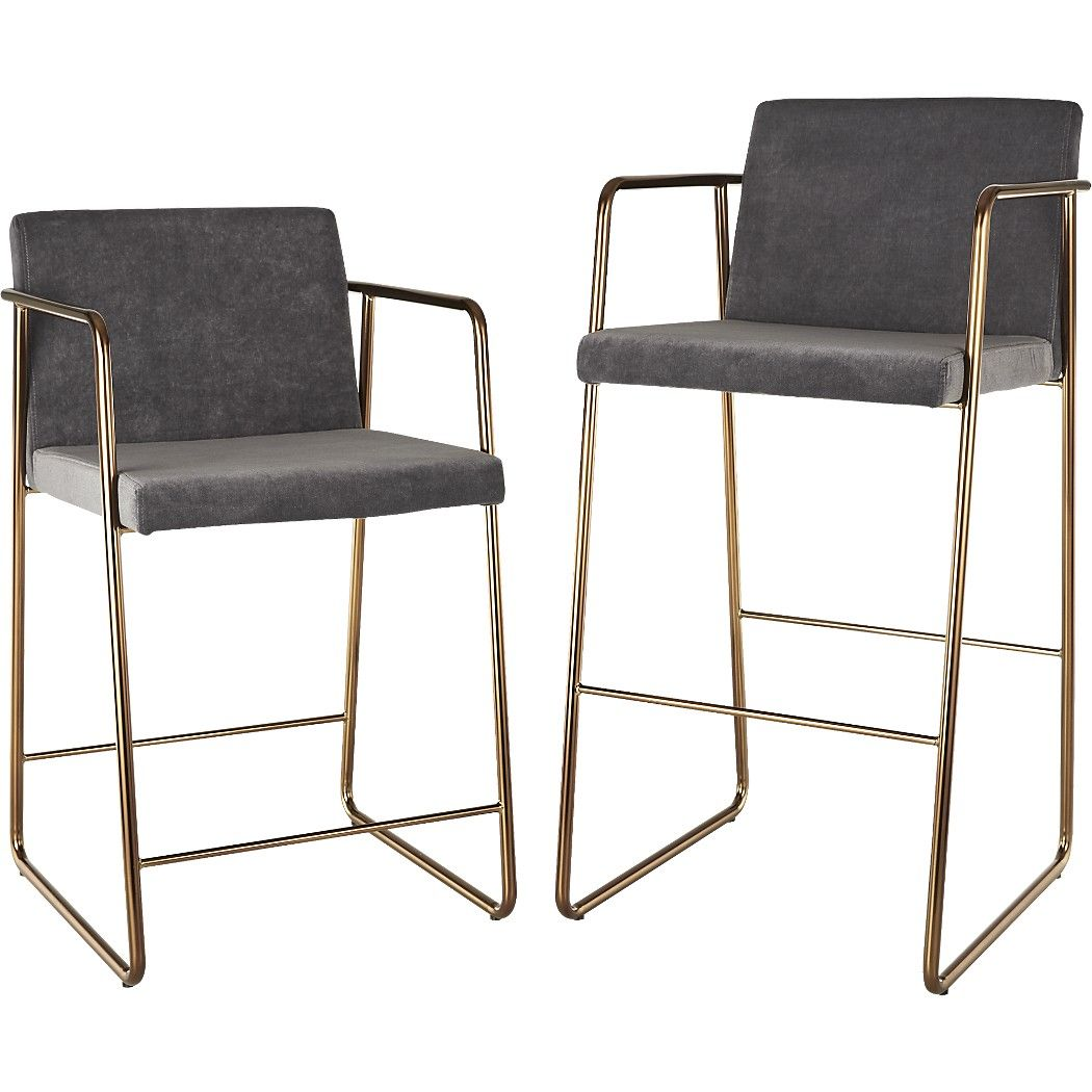 Shop Rouka Grey Upholstered Bar Stools Designed By Jannis Ellenberger The Rouka Which Means Food In Finnish Is An Eleg Bar Stools Modern Bar Stools Stool