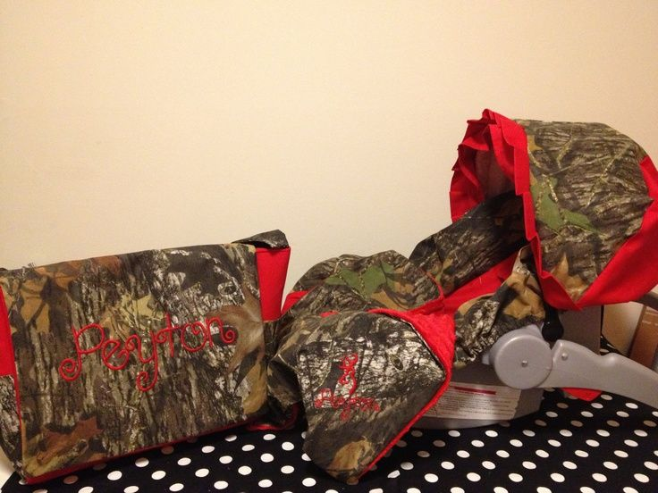 3 Piece Set MOSSY OAK CAMO fabric infant Car Seat Cover and Canopy