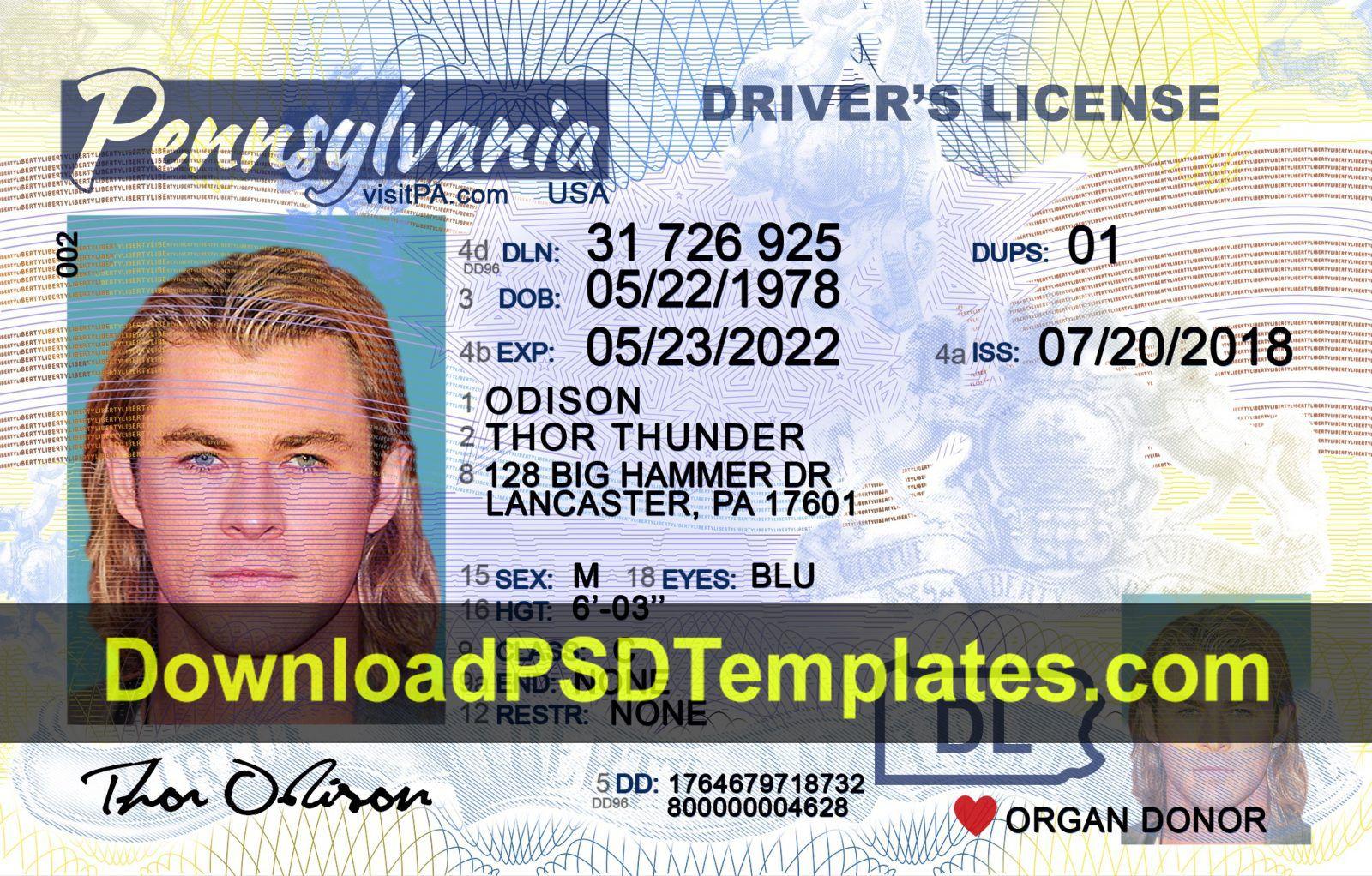 Fake driving license templates psd files regarding