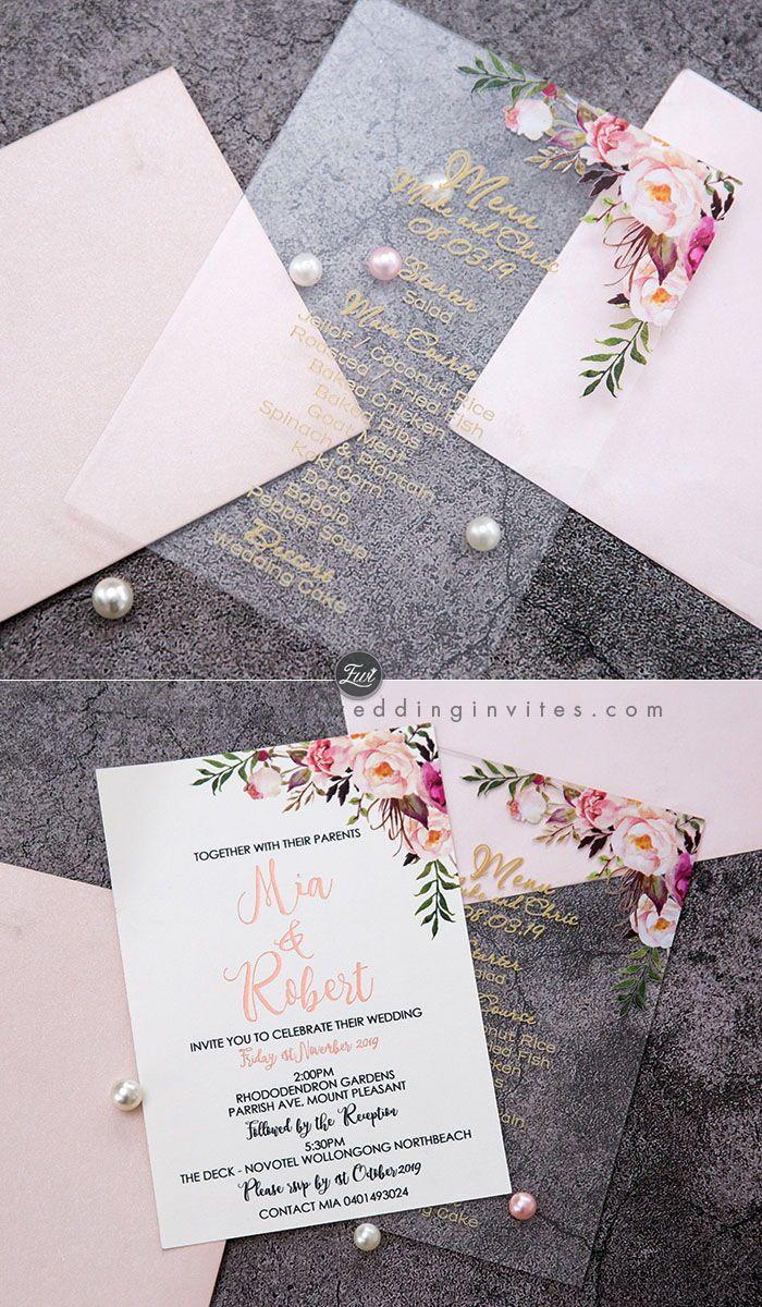 boho blush floral Acrylic wedding invitation thickness 2mm