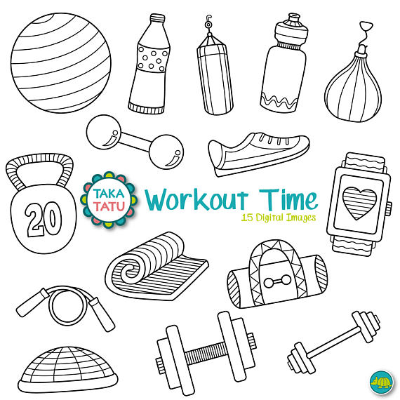 Workout Time Digital Stamp Pack Black And White Gym Clipart Gym Stamps Workout Clipart Exercise Diet Health Clipart Workout In 2021 Digital Stamps Bullet Journal Doodles Clip Art