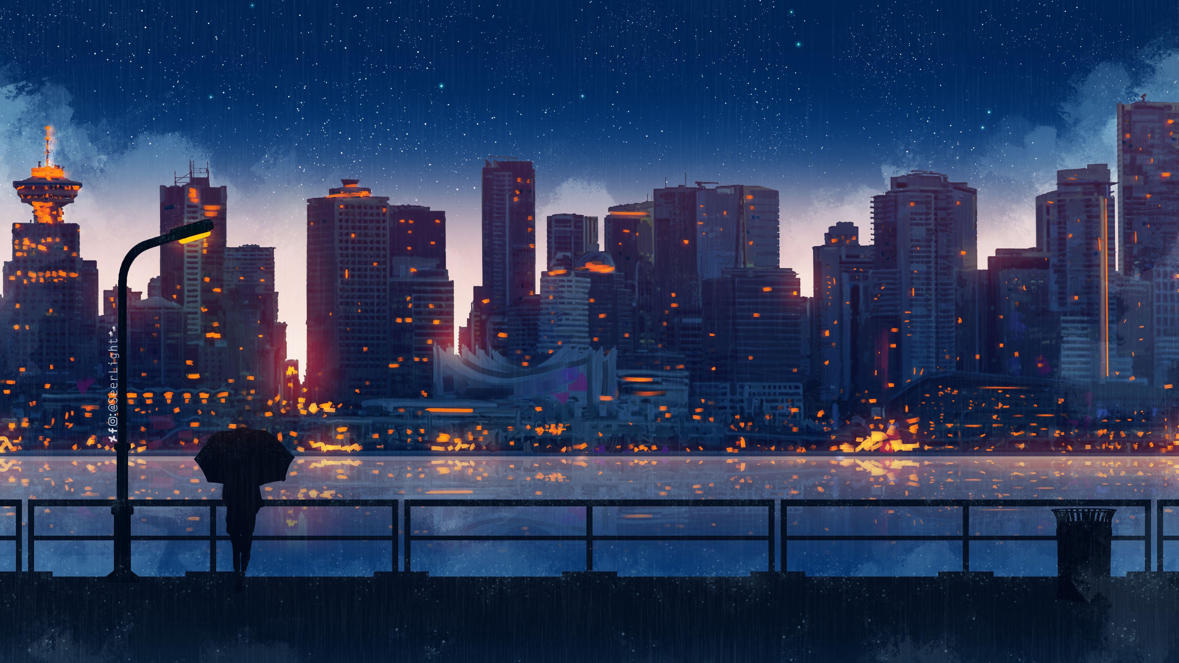 Anime City Lights Night Rain Umbrella Sky 4k Umbrella Wallpapers Hd Wallpapers Digital Art Wallpapers De In 2020 Anime Scenery Wallpaper Anime City Scenic Wallpaper
