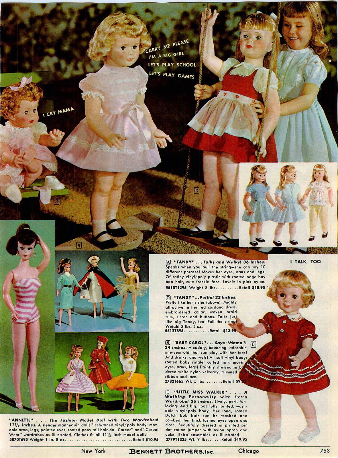 1963 Tany Baby Carol And Little Miss Walker Playpal And