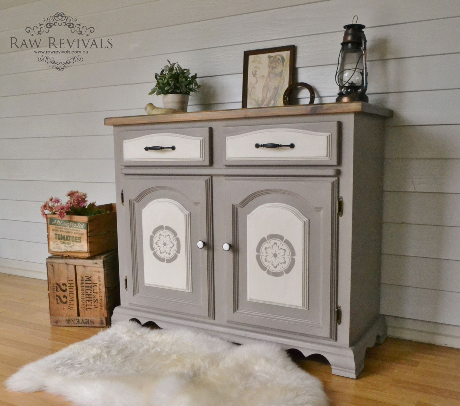Grey stenciled sideboard buffet with white panels
