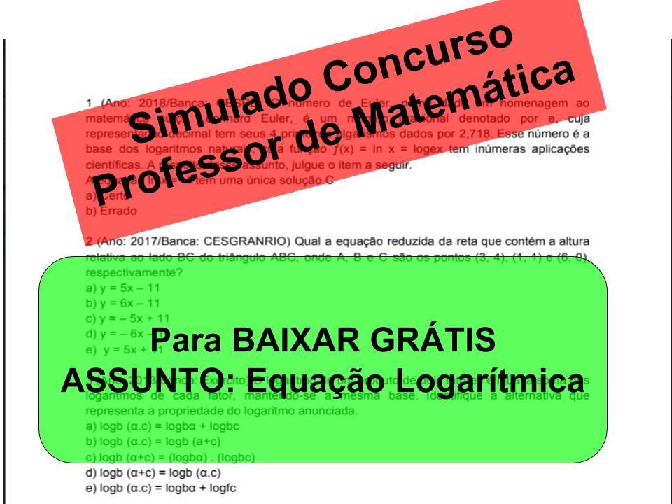 Descricao As Questoes Sao Para Concurso De Professor De Matematica