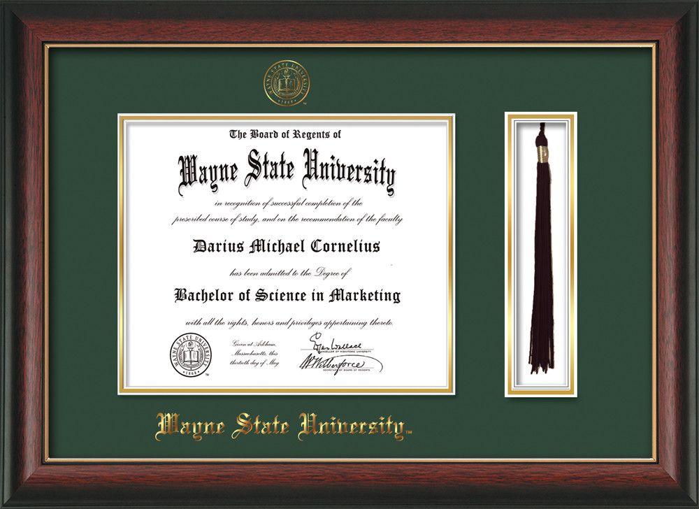 Wayne State University Diploma Frame Rosewood W Gold Lip W Embossed Wsu Seal Name Tassel Holder Gre Diploma Frame University Diploma Graduation Gifts