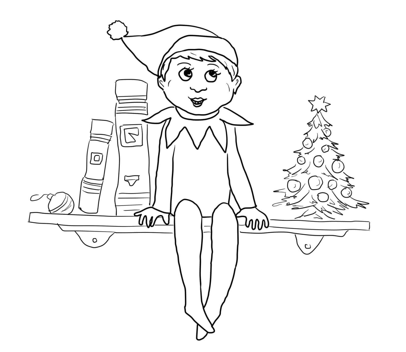 Elf on the Shelf Coloring Sheets Christmas  Educative Printable