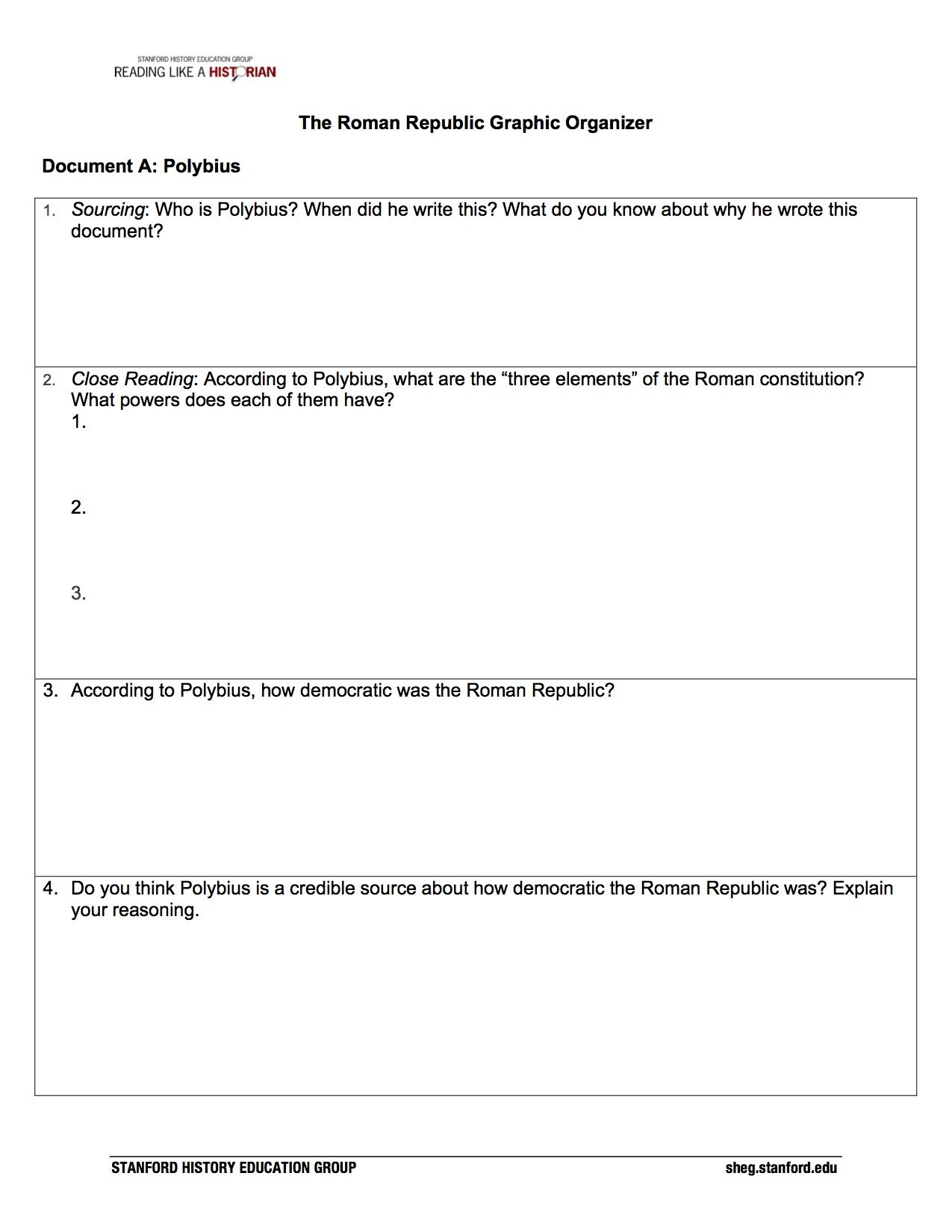 How democratic was the Roman Republic For hundreds of years – Roman Republic Worksheet