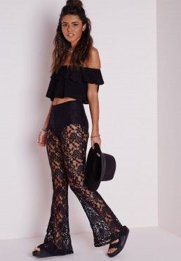 Lace Skinny Flare Trousers Black