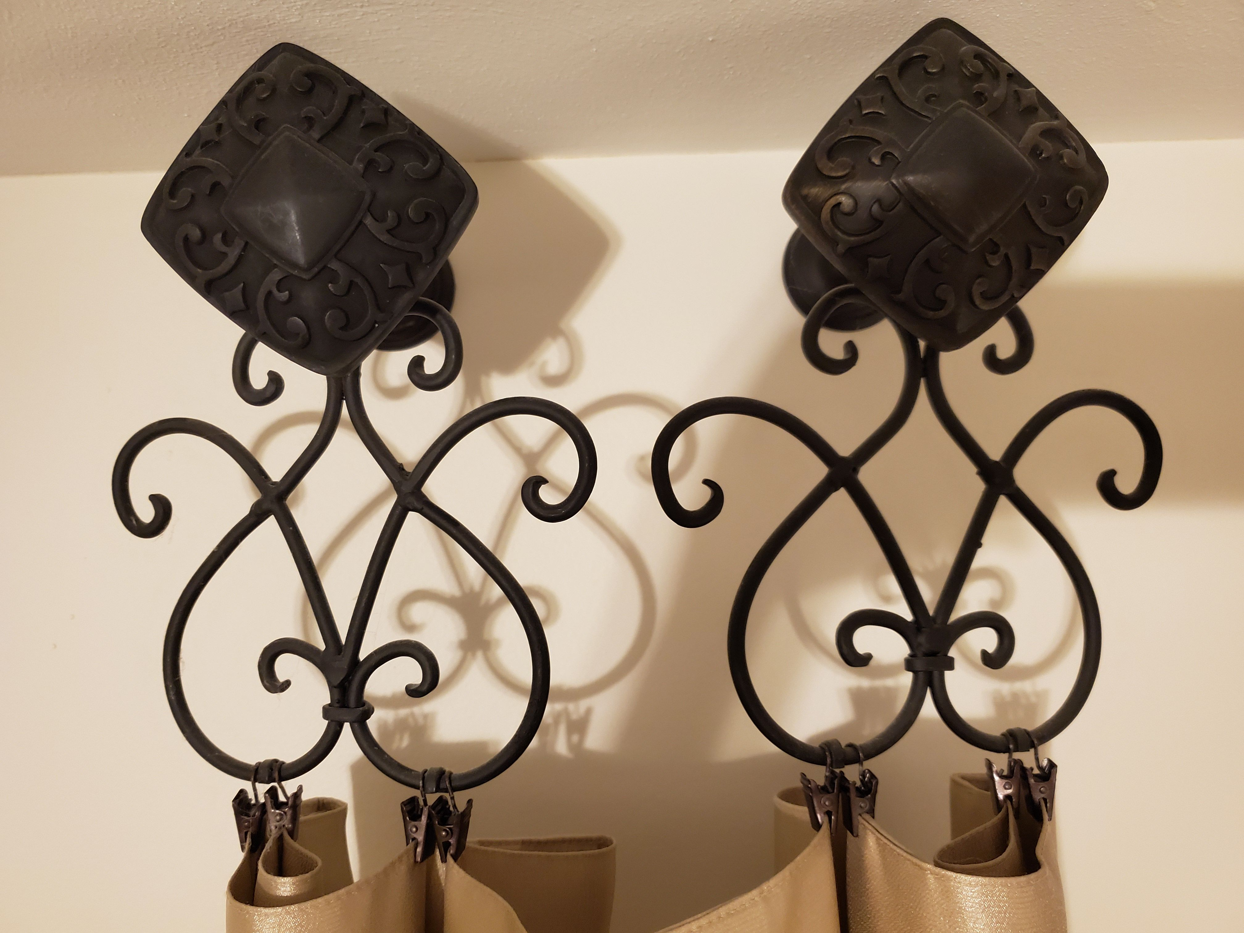 Hobby Lobby candle sconce repurposed to decorative drapery ... on Sconces Wall Decor Hobby Lobby id=54593