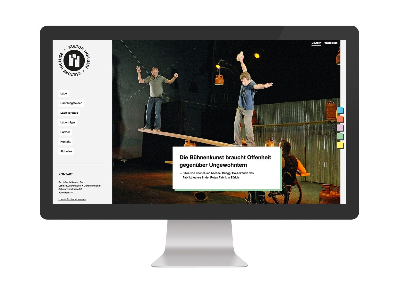 Label «Kultur inklusiv » Culture incluse» Responsive Website,  Design & Development: fugu GmbH