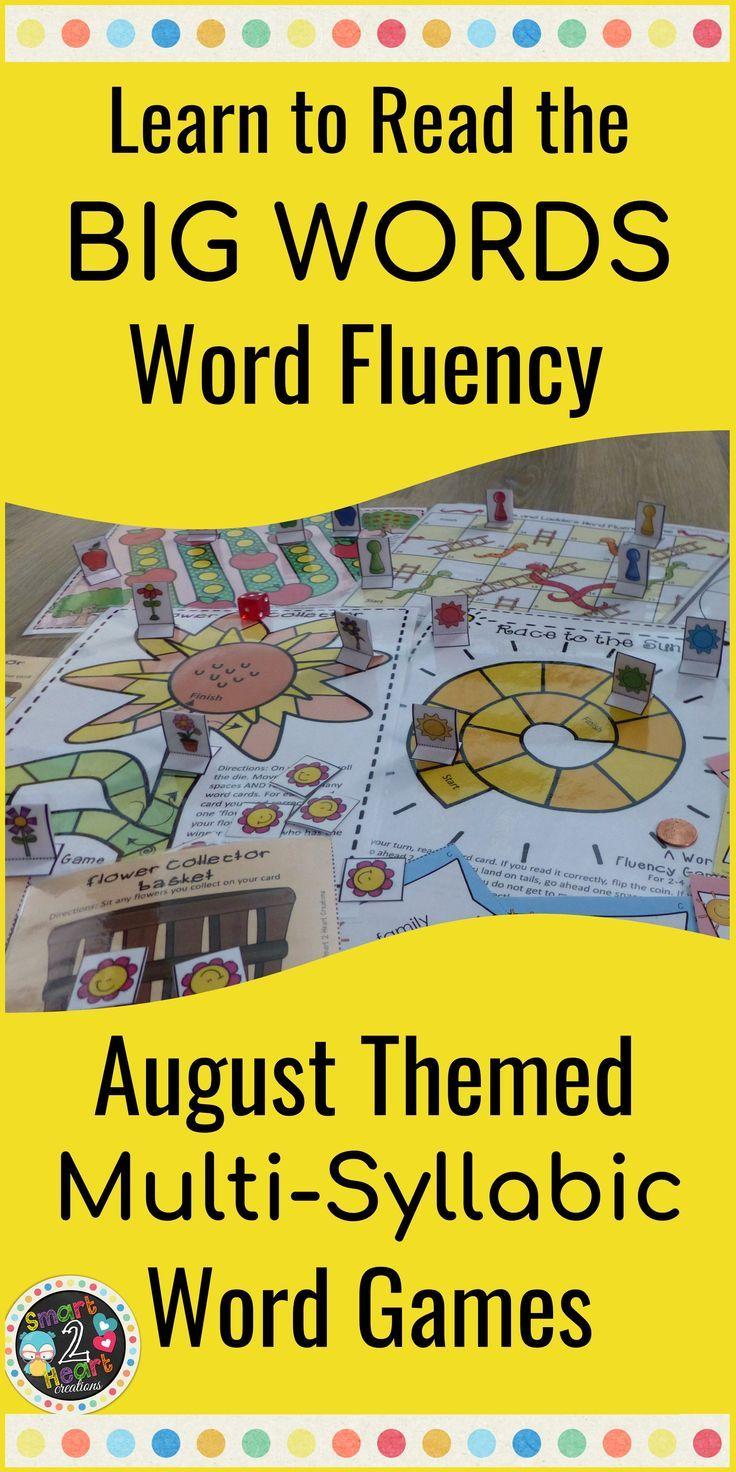AUGUST Multisyllabic Games Word Fluency Literacy Center