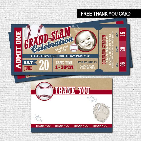 VINTAGE STYLE BASEBALL TICKET INVITATIONS + BONUS THANK YOU CARD - printable ticket invitations