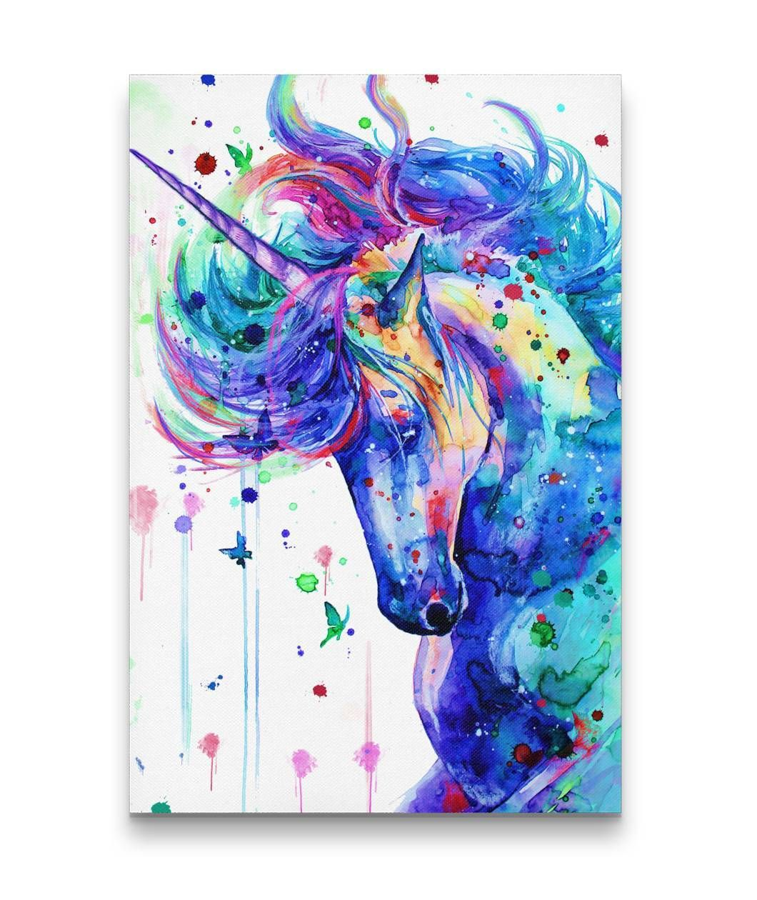d6455cc4ea1ba 3D Printed Cartoon Colorful Unicorn Canvas Prints | Unicorn Colorful ...