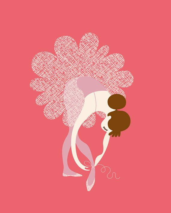 ballerina tying slippers giclée print. 11X14. pink/lavender. on Etsy