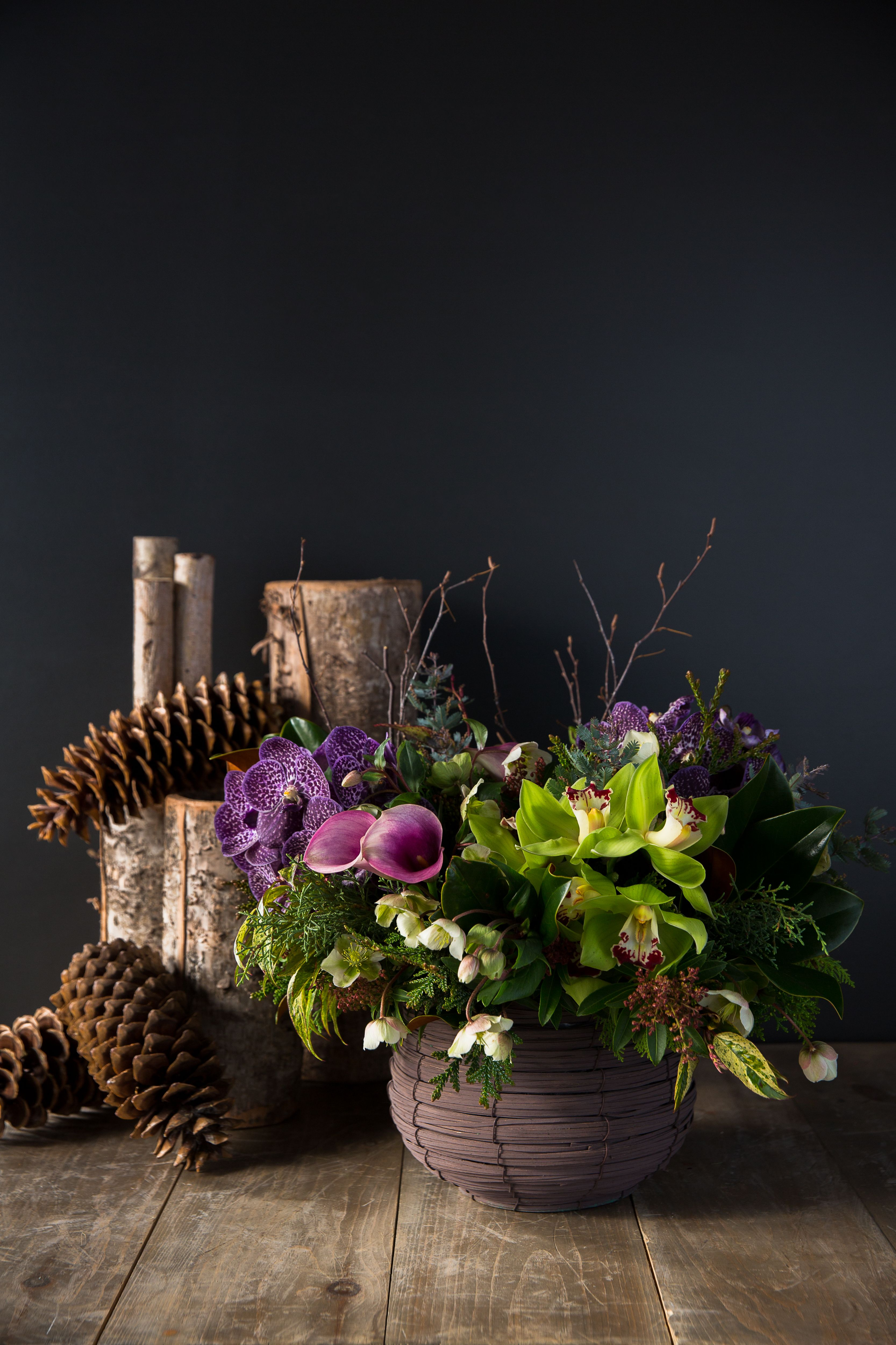 Lush Jewel Tones And Festive Winter Accents Royal Plum By Winston Flowers Photo Credit To Emily Kan Winston Flowers Flower Delivery Hanging Flowers