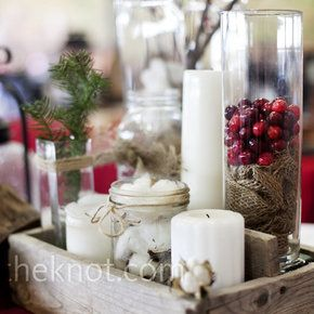 Rustic Winter Centerpieces Glass Cylinders And Jars Filled With Cranberries Pine Needles Cotton Candles Scream Festive Wedding Photo By Aric