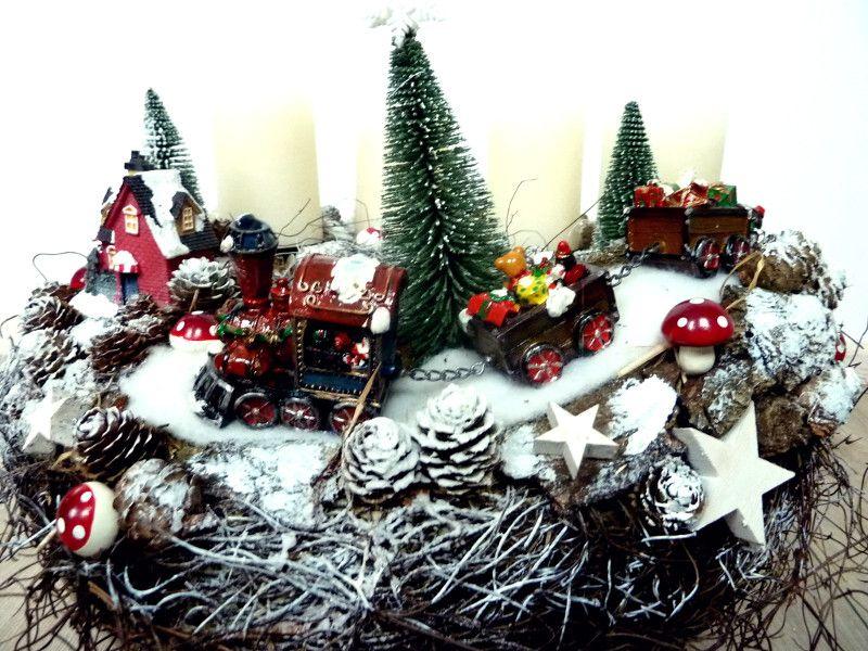 Eisenbahn Weihnachtsdeko.Weihnachten Adventskranz Eisenbahn Ein Designerstück Von Perla