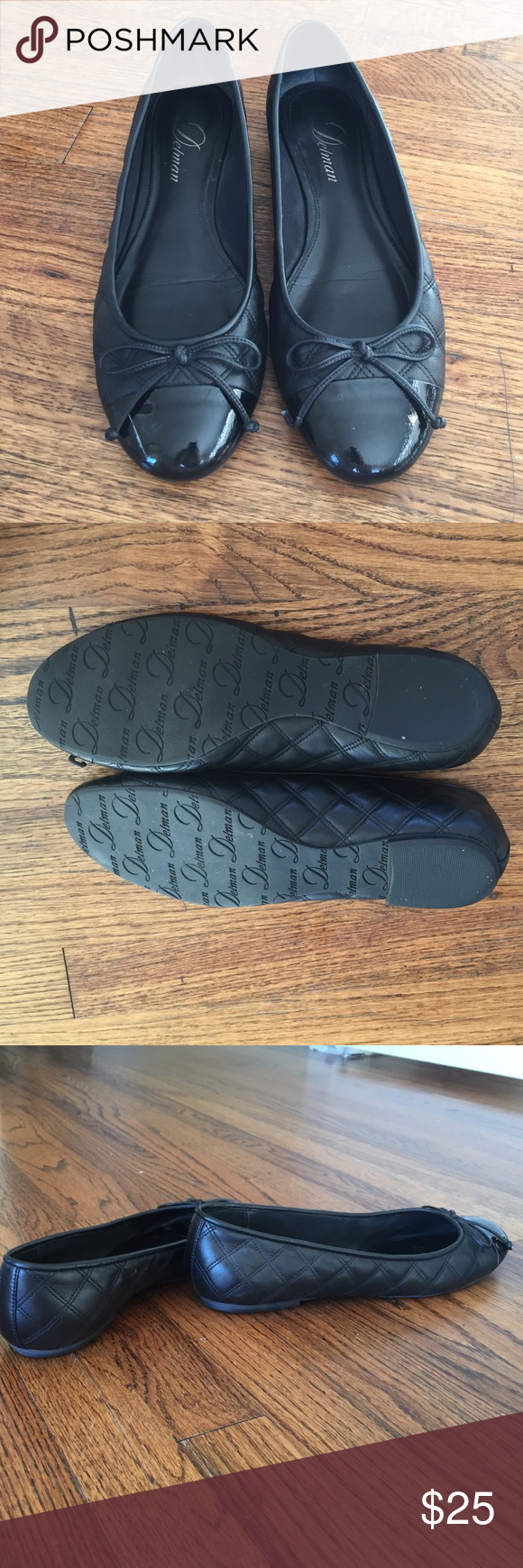 Black Delman cap toe flats Black flats - toe is patent leather, sides are quilted leather. Worn only a handful of times (they were too big for me) - soles are in great condition. Scratch on toe of right shoe - partially obscured by bows.  Size 6.5, run slightly large. Delman Shoes Flats & Loafers