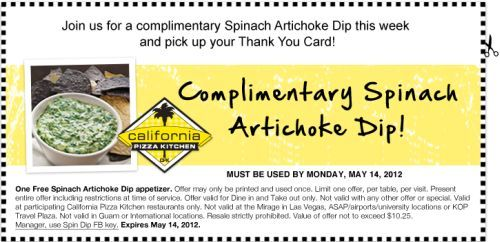 Nice California Pizza Kitchen Coupon U0026 California Pizza Kitchen Promo Code From  The Coupons App. Spinach Artichoke Dip Free At California Pizza Kitchen  January Pictures Gallery