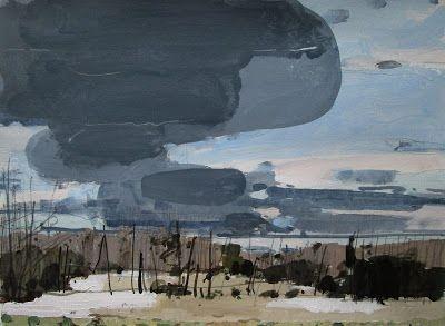 "Harry Stooshinoff, November Sky, acrylic and pencil on archival paper 11"" x15"" Nov 2012"