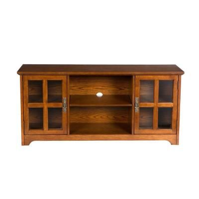 TV Credenza Home Decorators Collection Remington Mission Oak Media  Stand MS9907 At The Home Depot