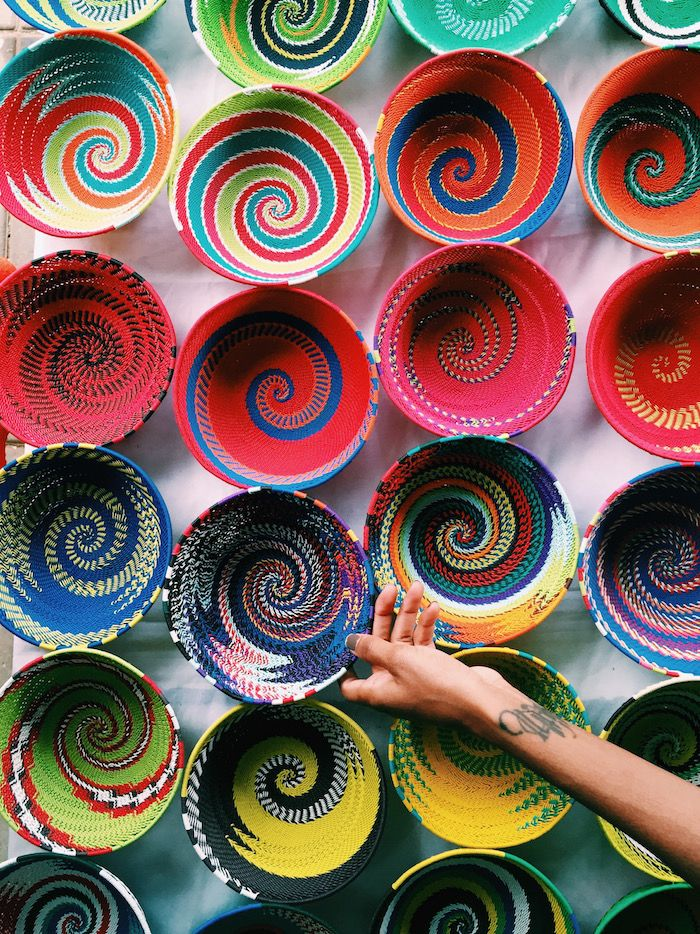 Colorful Woven Baskets In Soweto South Africa South Africa