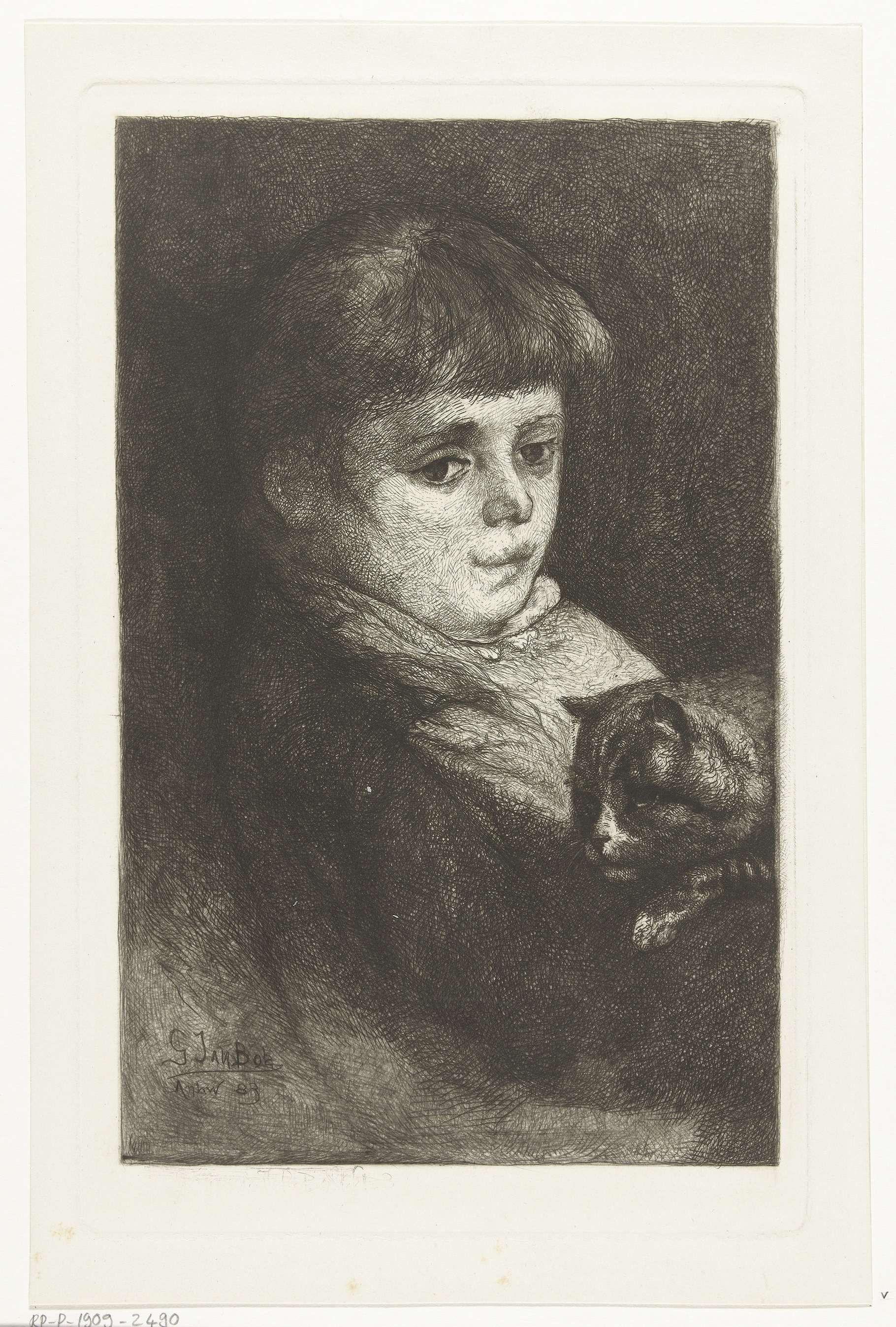 Gerard Jan Bos | Portret van Eleonora Bos met poes, Gerard Jan Bos, 1883 |