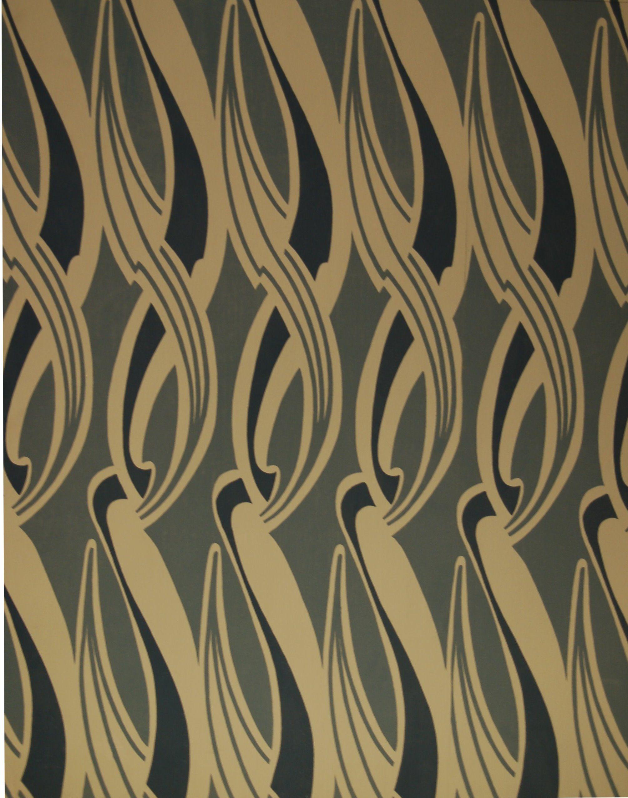 tapete 513 a henry van de velde blau historische tapeten hembus gmbh art nouveu. Black Bedroom Furniture Sets. Home Design Ideas