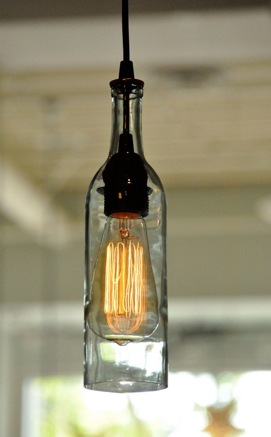 Turn Empty Wine Bottle into Hanging Light | Foodarian