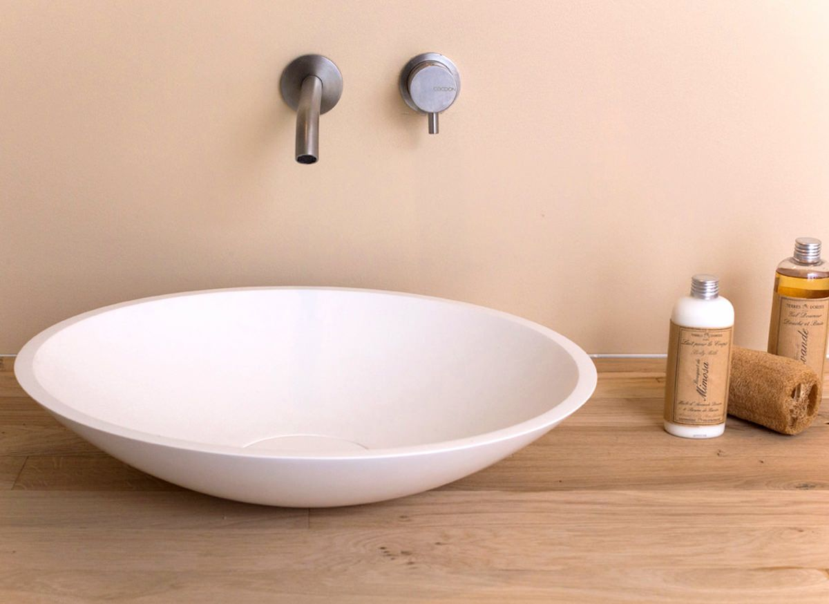 Kleine Waskom Toilet : Ronde waskom handgemaakt in nederland van mat wit solid surface