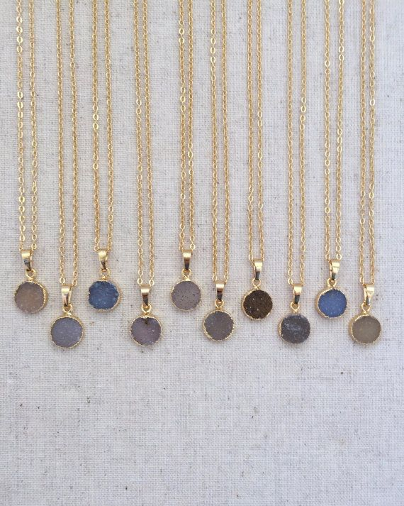 ♥ Gorgeous druzy stone pendant necklace is perfect for layering or everyday wear. ♥ Length approximately 19, pendant .5 (I can make shorter if