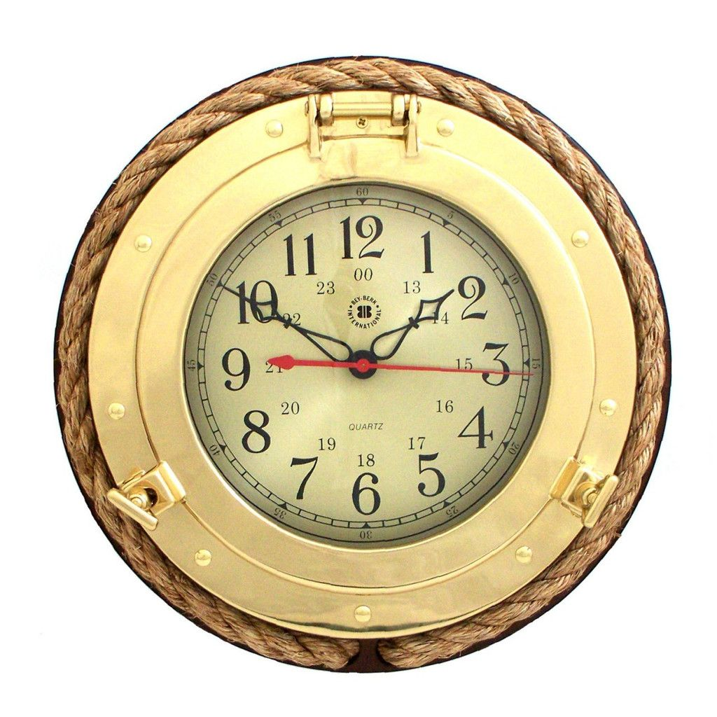 Bey-Berk Brass Porthole Rope Clock on Wood Base | SQ501 in stock ...