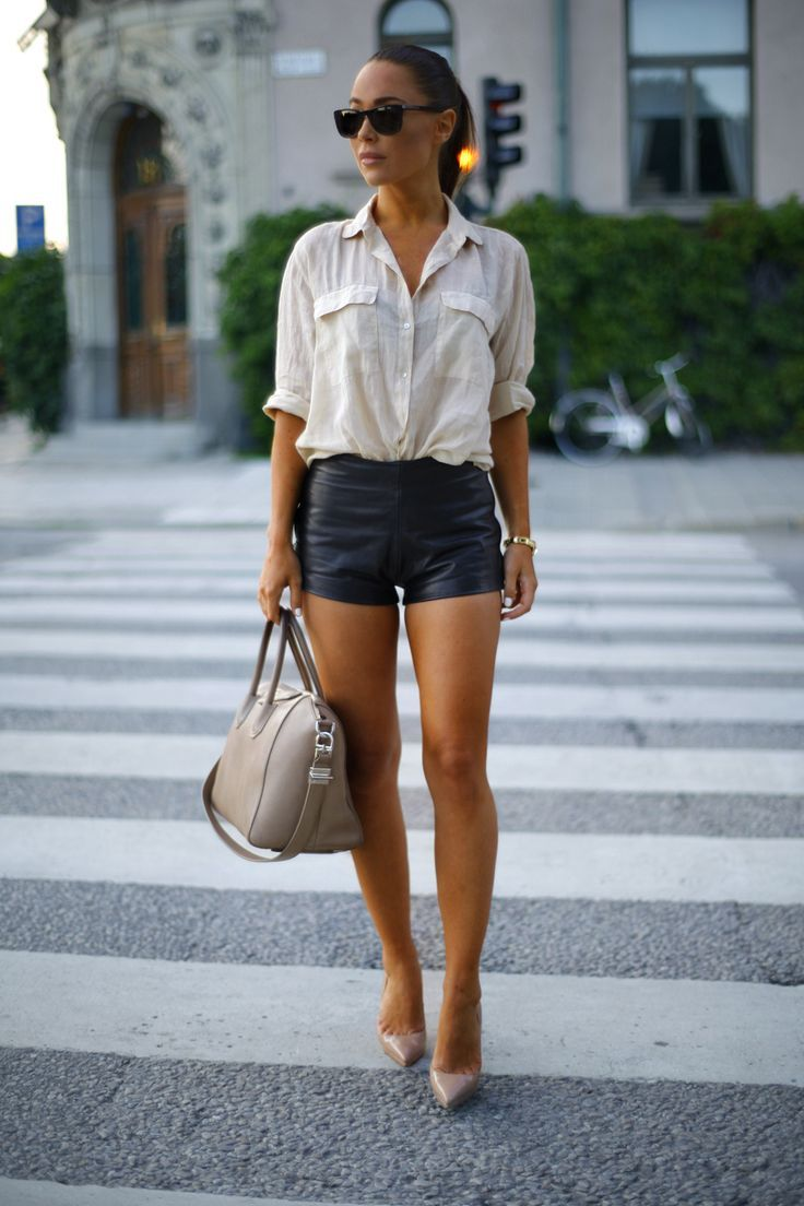 how to wear a white shirt  fashion style black leather