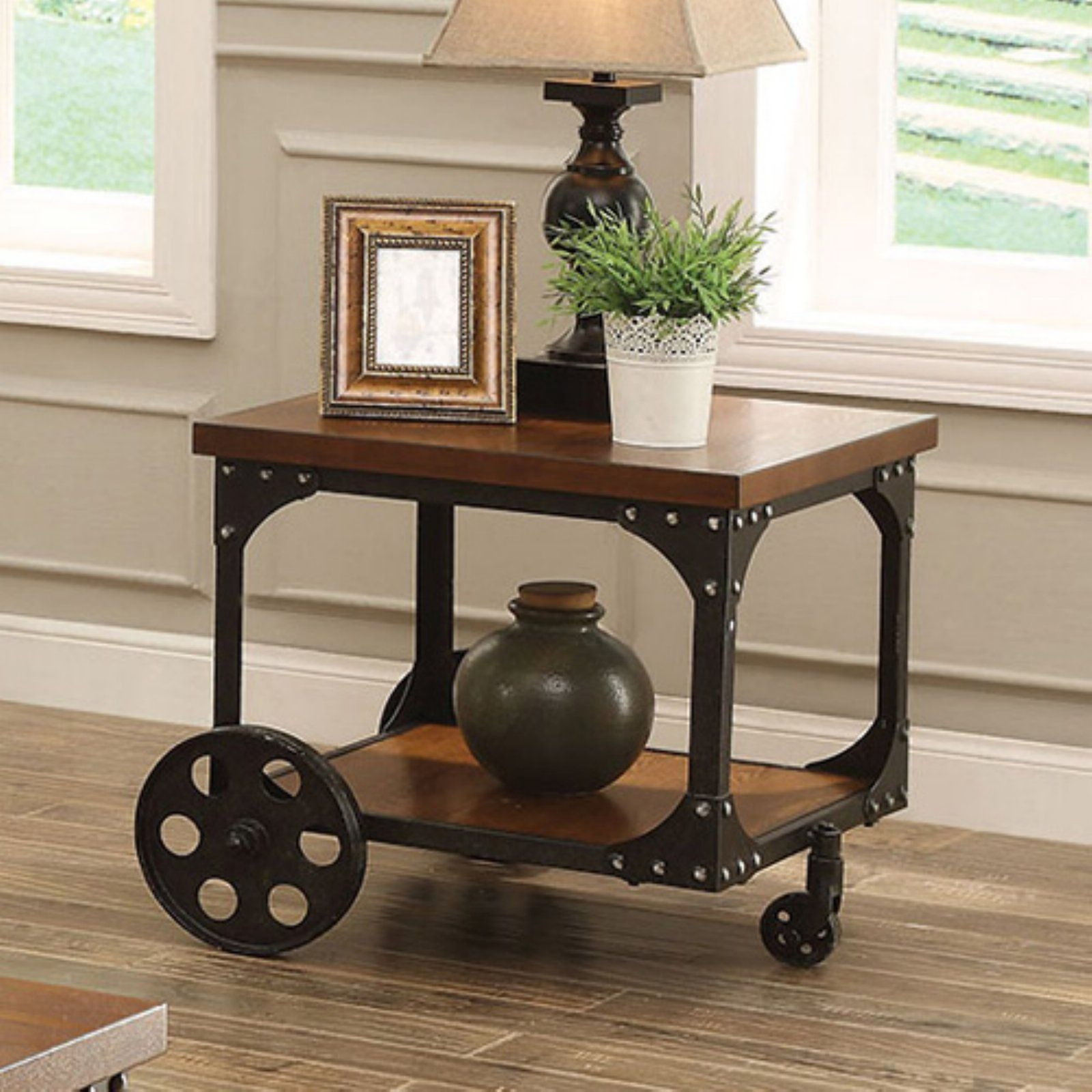Coaster Furniture Wood End Table With Metal Casters In 2020 Vintage Industrial Furniture Coaster Furniture Wood End Tables