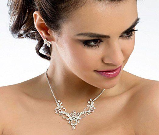 MGT-shop 60 - sposa collana sposa collana da sposa bigiotteria collana Collier Set con strass cristalli MN10: Amazon.it: Abbigliamento