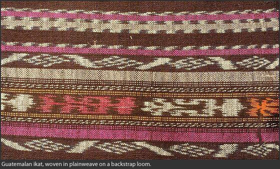 Guatemalan ikat, woven in plainweave on a backstrap loom.