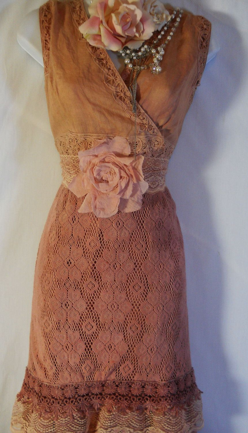 Boho maxi dress tea stained cotton rustic shabby wedding rose
